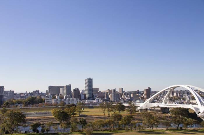 豊田大橋とその周辺の景色