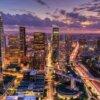 空から見たロサンゼルスの都心部のビル群
