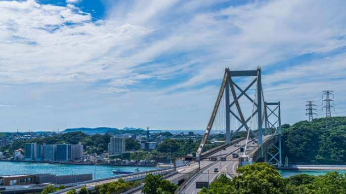 和布刈公園第二展望台から見た関門海峡大橋